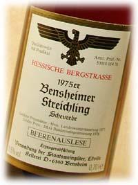 ベルクシュトラーセ ベンスハイマー シュトライヒリング ショイレーベ ベーレンアウスレーゼ [1975] 700ml